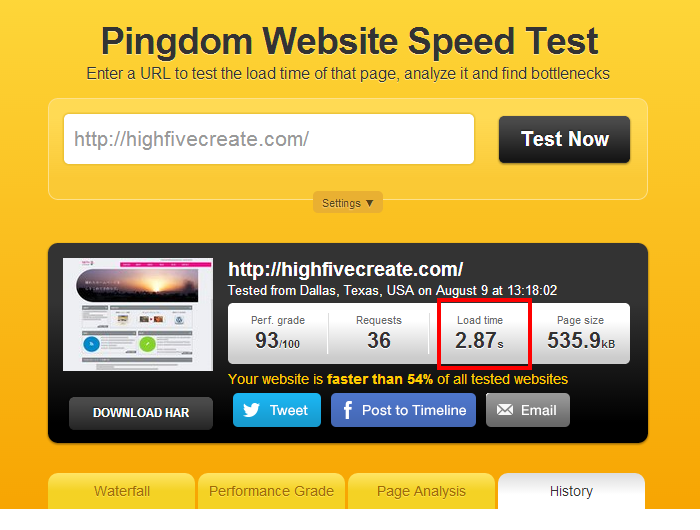 Website speed test_after